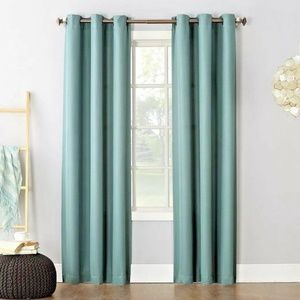 Grommet Panel Woven Curtains 2 Panels Green 40x84